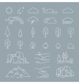 Nature landscape elements icons vector image