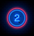neon city font sign number 2 vector image vector image