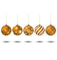 orange christmas balls with different patterns vector image vector image