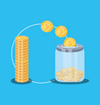 pile of coins dollar with saving bottle vector image vector image