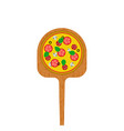 pizza on a wooden shovel for a stove traditional vector image vector image