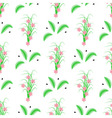 Seamless of striped green leaves and grass with pi vector image