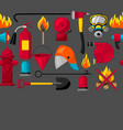 seamless pattern with firefighting items fire vector image vector image