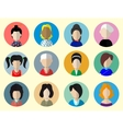 set circle flat icons with women vector image