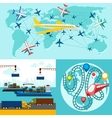 Shipping delivery car ship plane vector image vector image