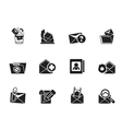 Silhouette E-mail and Message Icons vector image vector image