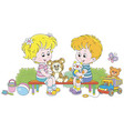 small children playing on a playground vector image vector image
