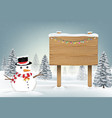 snowman and wood board sign in winter forest vector image vector image