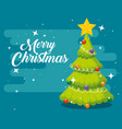 star in the pine tree with lights and balls vector image vector image