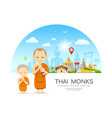 thai monks and thai novice design vector image vector image