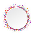 white banner with confetti isolated vector image vector image