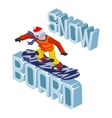 Winter Snowboard Healthy Resort Polygonal Text vector image