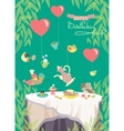 Birthday party card cute birds and table with vector image