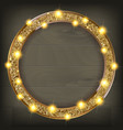 round gold frame on a wooden background vector image