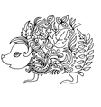 little hedgehog for coloring vector image