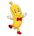 a cartoon happy banana character vector image vector image
