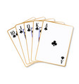 ace clubs flush playing cards vector image vector image
