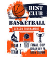 basketball game tournament match banner vector image vector image