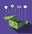 bill dollar arrow and set icons vector image vector image
