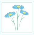 blue daisies on a white background vector image vector image