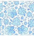 Blue line drawn flowers seamless pattern vector image vector image