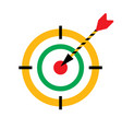 bullseye darts icon with arrow hit the vector image