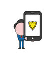 businessman character holding smartphone with vector image vector image