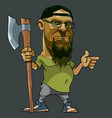 cartoon bearded man with glasses and an ax in his vector image