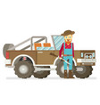 cartoon hunter with gun redneck car isolated on vector image