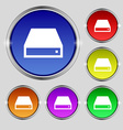 CD-ROM icon sign Round symbol on bright colourful vector image vector image
