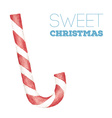 Christmas card with watercolor candy cane vector image vector image