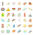 city construction icons set cartoon style vector image vector image