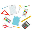 colorful school supplies stationery set vector image vector image