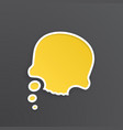 comic speech bubble for thoughts at skull shape vector image
