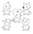 cute animal family vector image vector image