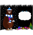 cute cartoon bear in hat on night snowy vector image