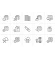 database hand drawn outline doodle icon set vector image