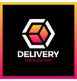 Delivery box arrow logotype colorful gradient