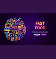 fast food neon banner design vector image