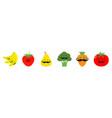 fruit berry vegetable mustache face icon set line vector image vector image