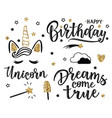 greeting set with dreams come true and happy b vector image