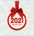 happy new year 2021 round banner with red ribbon vector image