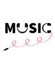 headphones earphones icon word music red cord vector image