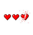 healthbar of hearts and one broken heart vector image