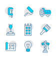 icon set constructionrepair in line style vector image vector image