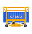 loading cargo container freight transport flat vector image vector image