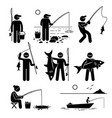 man fishing big and small fish at river lake ice vector image vector image