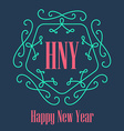 New Year festive Card monograms style Lineart vector image
