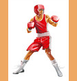 one caucasian man exercising boxing in silhouette vector image