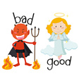 Opposite adjectives good and bad vector image